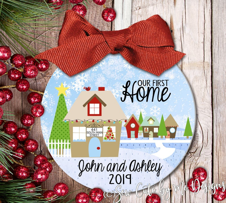 Christmas Ornament – Personalized New Home with House Address, Family Names