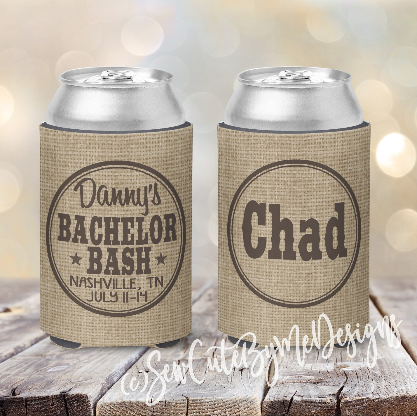 Bachelor Party Nashville Koozies - Burlap - chocolate brown