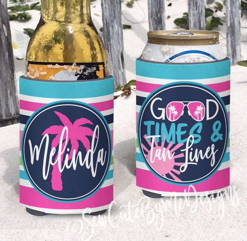 Beach Koozies - Vacation Koozies - Good Times and Tan Lines - Pink and Aqua Stripes