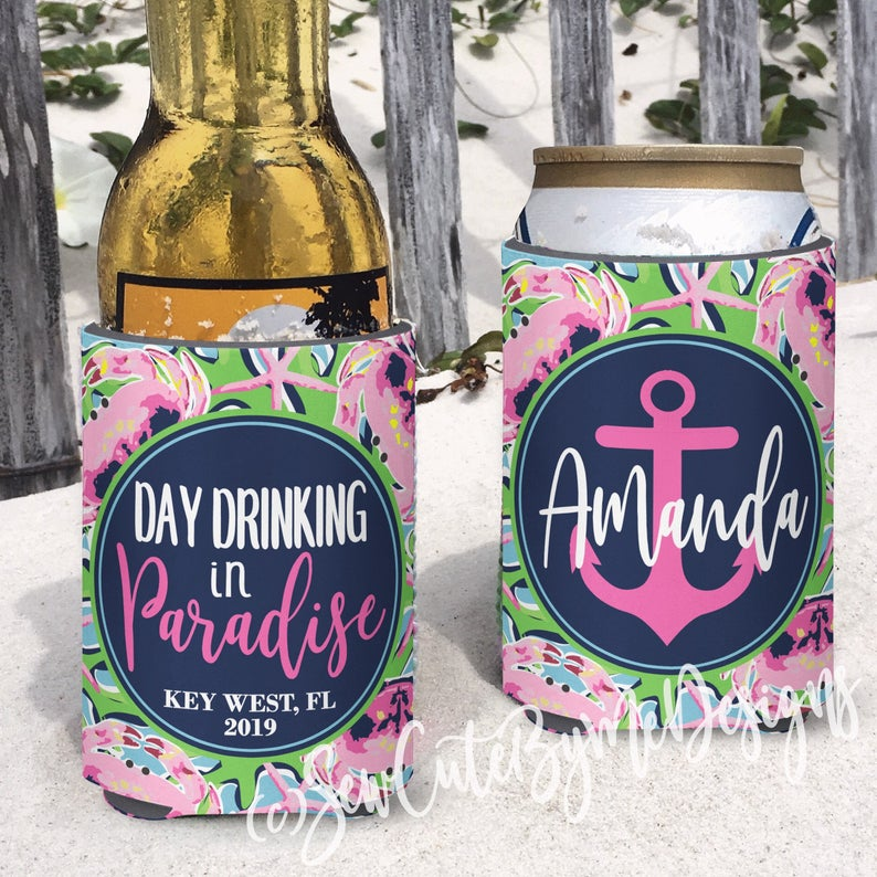 Beach Vacation Koozies or coolies - pink crabs - day drinking in paradise
