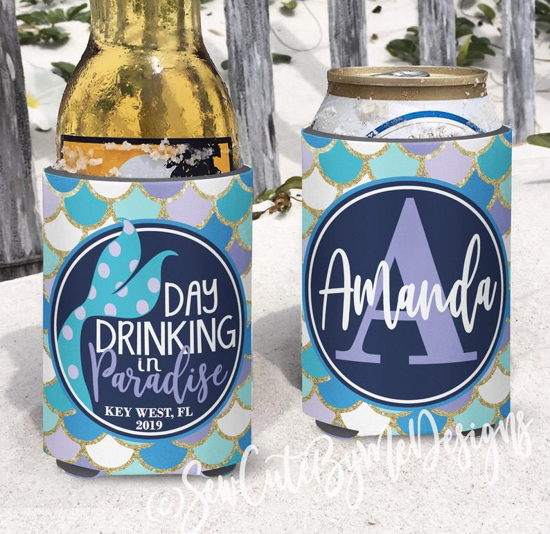 Beach Vacation Koozies or coolies - aqua lavender mermaid - day drinking in paradise