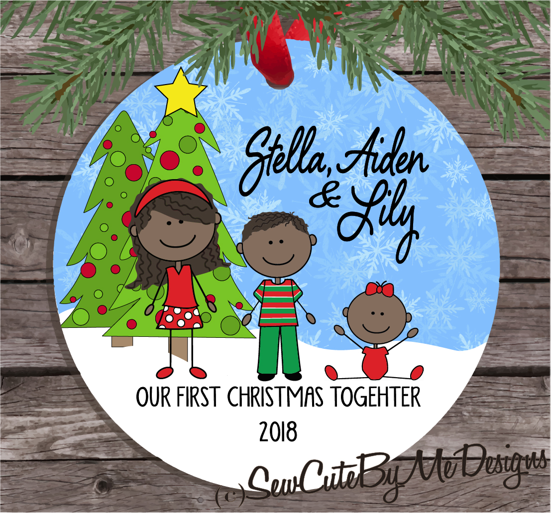 Christmas Ornament – Our first Christmas together - Dark skin