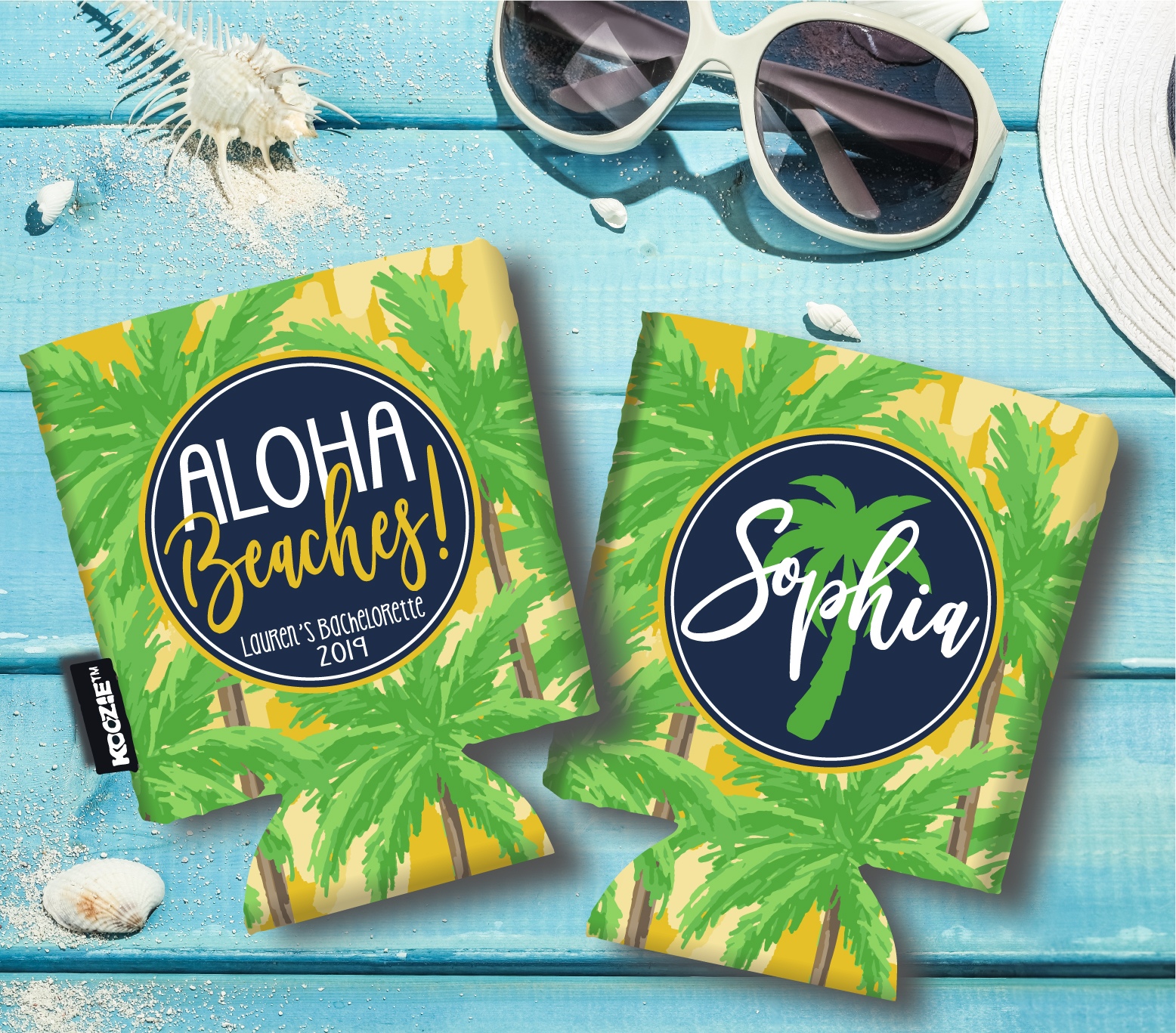 Beach Vacation KOOZIES® or Neoprene can coolers - Yellow Palm Trees - Aloha Beaches - Bachelorette Koozies