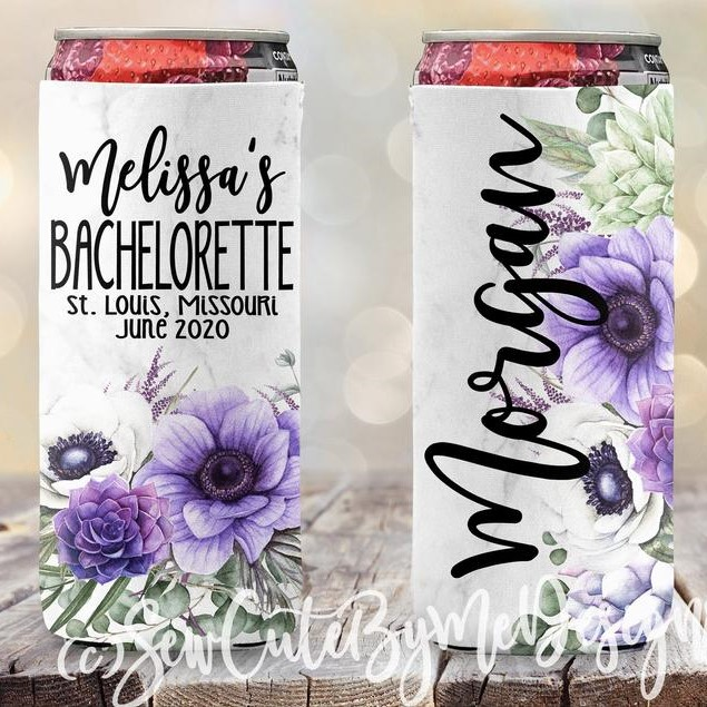Watercolor SLIM bachelorette koozies - succulents