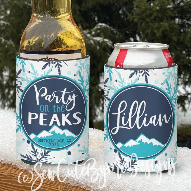 Mountain Vacation Koozies - Personalized Can Coolers - Party on the Peaks