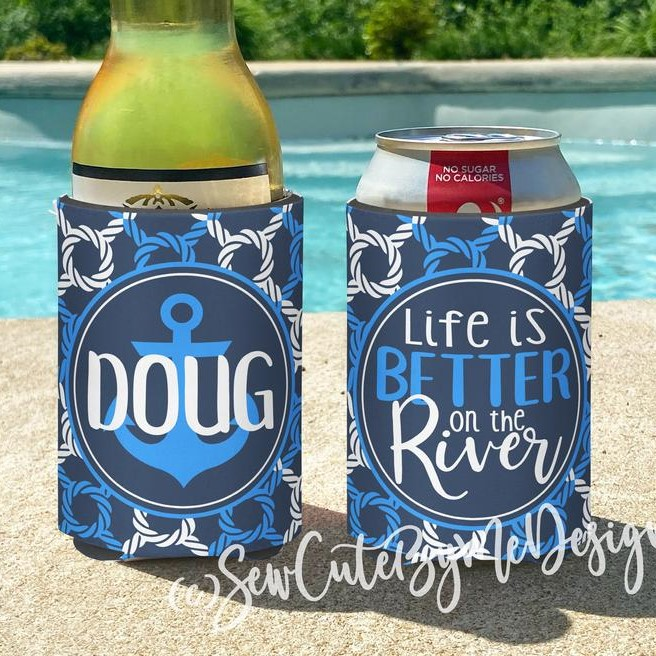 Koozies - Lake House Vacation - Lake - River - Life is Better on the River Koozies