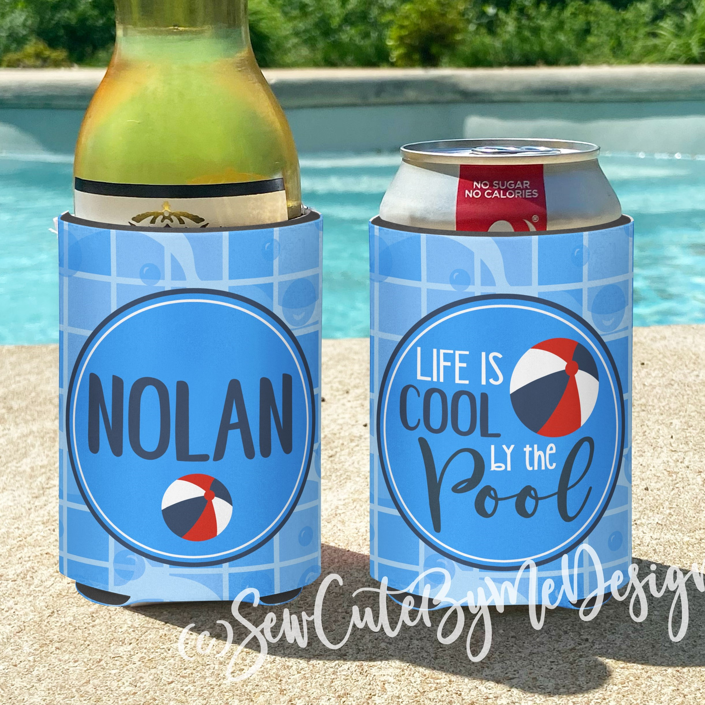 Pool Party Koozies or coolies - Beach Ball floaty - life is cool by the pool