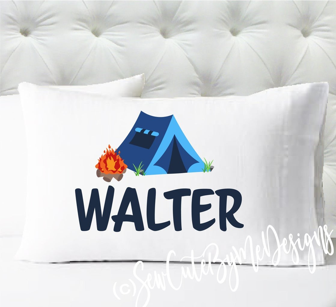 Personalized camping pillowcase - boys camping tent campfire pillow case