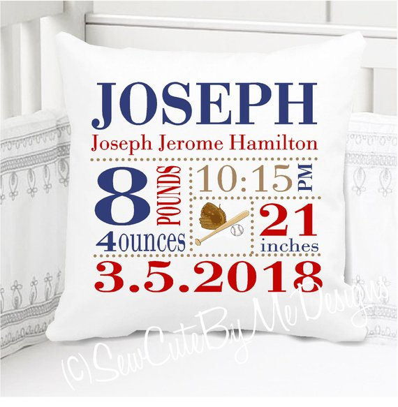 Boys Birth Announcement Pillow Personalized with Baby's Stats – Baseball Nursery