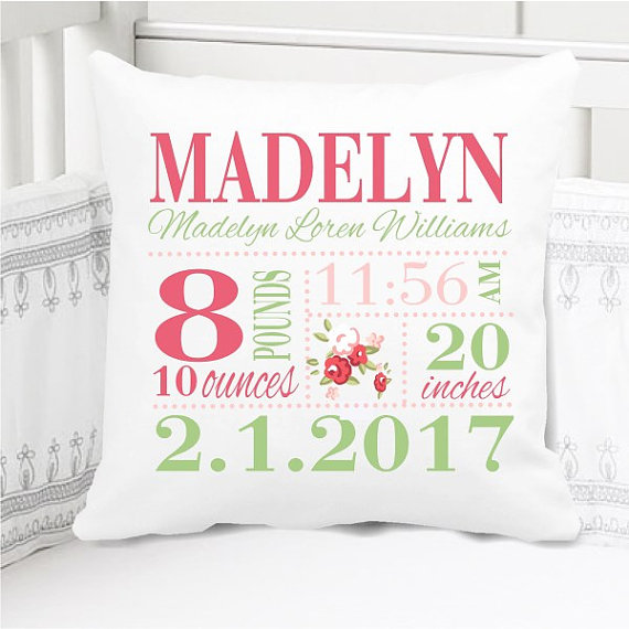 Birth Announcement Pillow - Girls Rose - Personalized Pillowcase and Pillow Insert