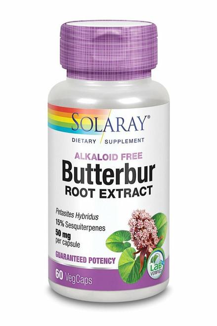Solaray Butterbur Root Extract, Veg Cap Btl-Plastic 50mg 60ct Guaranteed Potency