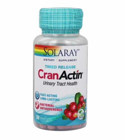 Solaray CranActin Cranberry Extract, Bacterial Antiadherence Formula, Timed- Release 30ct 700mg