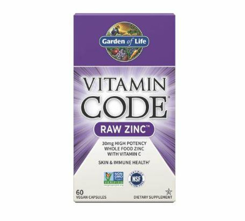 Garden Of Life Raw Zinc 30mg High Potentcy with Vit C 60ct