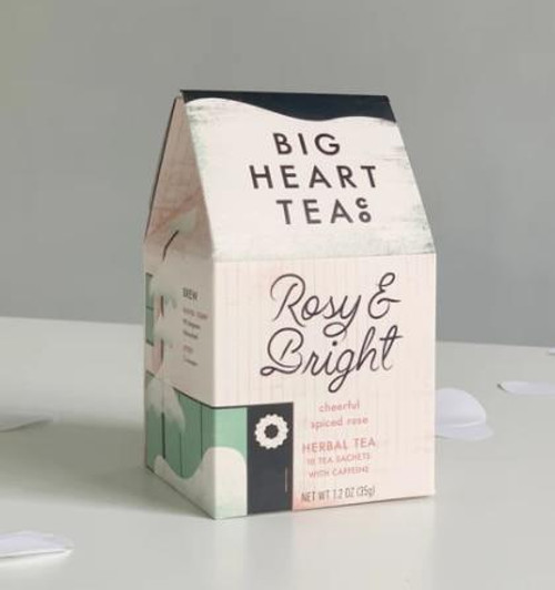 Big Heart Tea Co Rosy and Bright Spiced Rose Herbal Tea, 10 Sachets