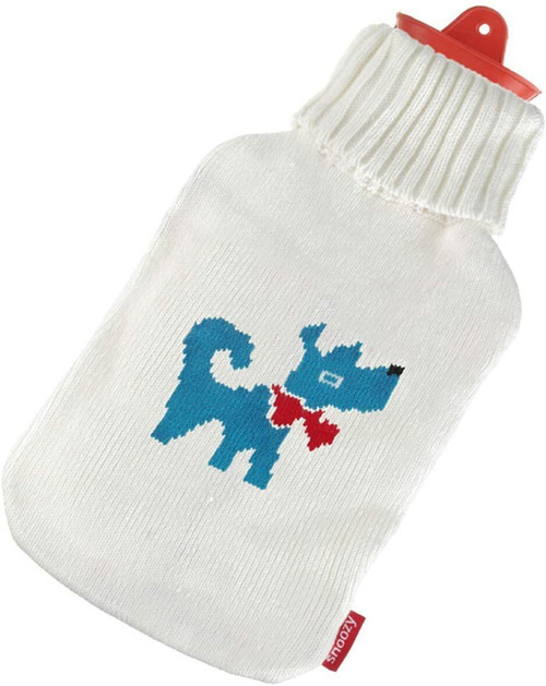 Snoozy Hot Water Bottle With Knitted Cover- Blue Dog