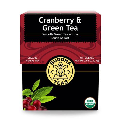 Buddha Teas Cranberry and Green Tea, 18 Bags, Organic