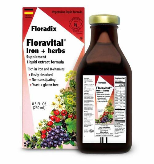 Flora Health Floravital Iron and Herbs Yeast Free Gluten Free 8.5 Oz