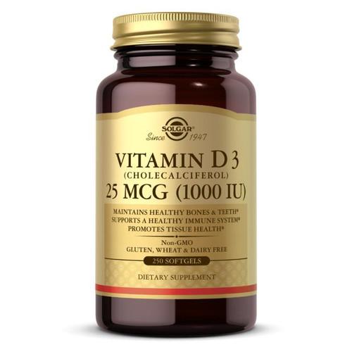 Solgar Vitamin D3 1000IU, 25mcg 250ct Softgels