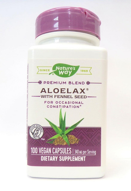 Natures Way Aloelax with Fennel Seed, 100 vegan caps
