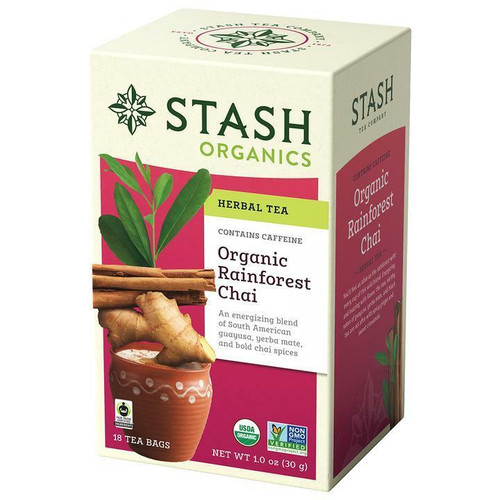 Stash Tea Company Organic Rainforest Chai Herbal Tea, 18 Bags