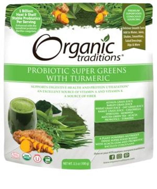 Organic Traditions Probiotic Super Greens w/ Turmeric - 3.5 oz
