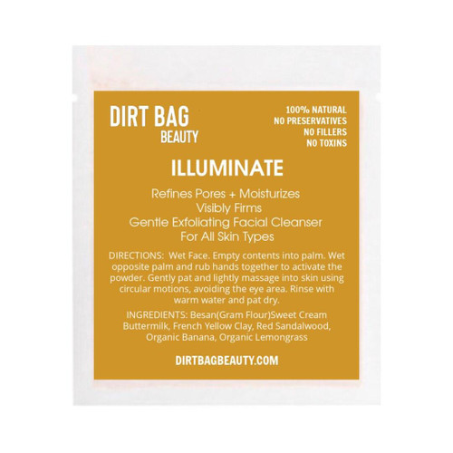 Dirt Bag Beauty Illuminate Exfoliating Face Cleanser, organic, single use