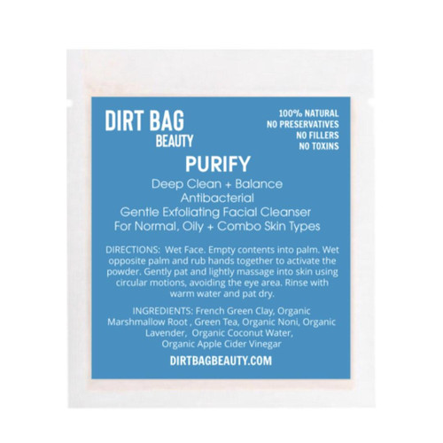 Dirt Bag Beauty Purify Exfoliating Face Cleanser, organic, single use