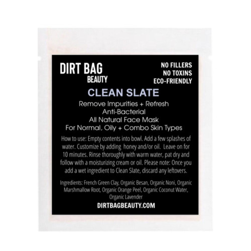 Dirt Bag Beauty Clean Slate Facial Mask, vegan, single use