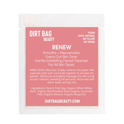 Dirt Bag Beauty Renew Exfoliating Facial Cleanser, vegan, single use