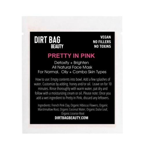 Dirt Bag Beauty Pretty in Pink Facial Mask, vegan, single use