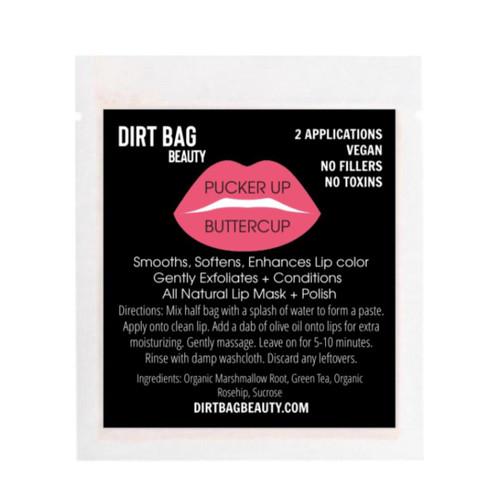 Dirt Bag Beauty Pucker Up Buttercup Lip Mask and Polish, 2 applications