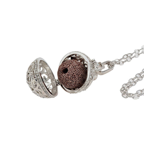 VBand Co Designs Round Antique Silver Essential Oil Diffuser Necklace