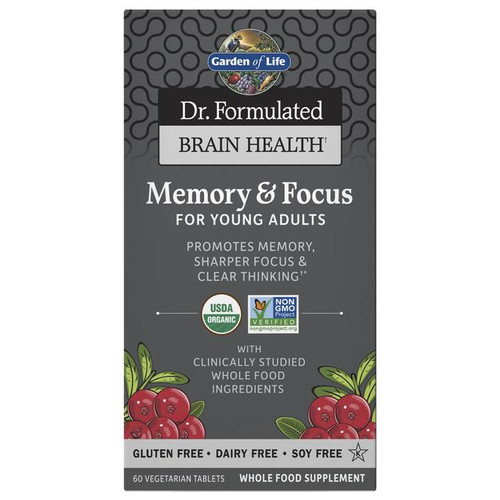 Garden Of Life Memory and Focus, 60ct For Young Adults, Dr Formulated Brain Health