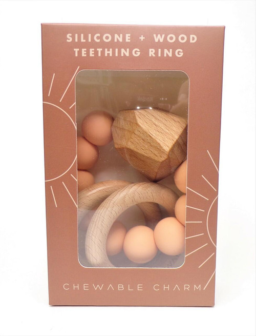 Chewable Charm Hayes Silicone Wood Teething Ring, Peach