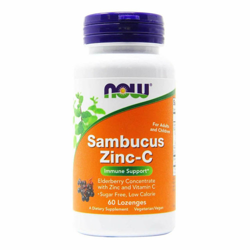 NOW Sambucus Zinc-C, 60 Lozenges
