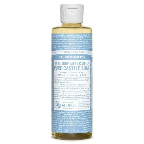 Dr Bronners Hemp Baby Unscented Liquid Castile Soap 8oz
