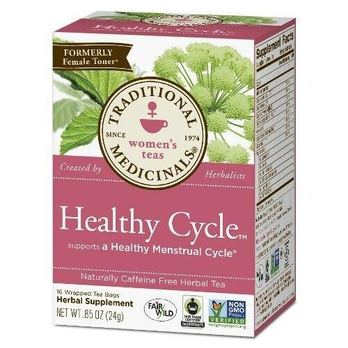 Traditional Medicinals Healthy Cycle Raspberry Leaf Tea, 16 Bags Organic
