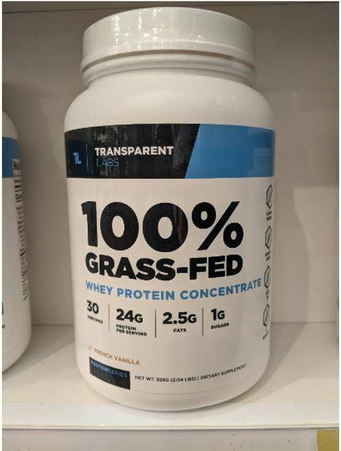 Transparent Labs ProteinSeries 100percent Grass-Fed Whey Protein Concentrate French Vanilla 2.04 lbs
