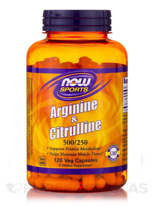 NOW Arginine 500mg and Citrulline 250mg 120 Vcaps