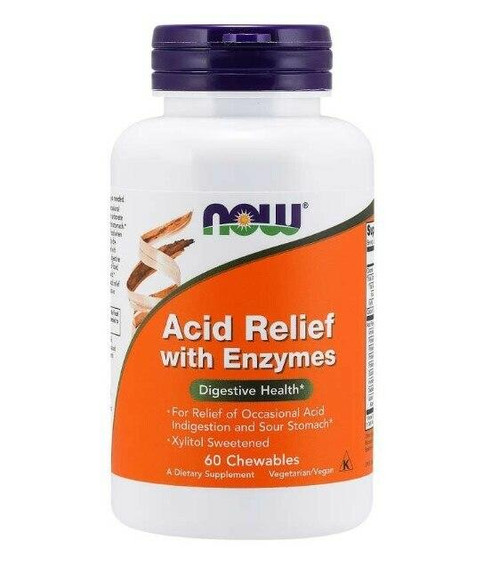 NOW Acid Relief Chew Enzymes 60 Loz