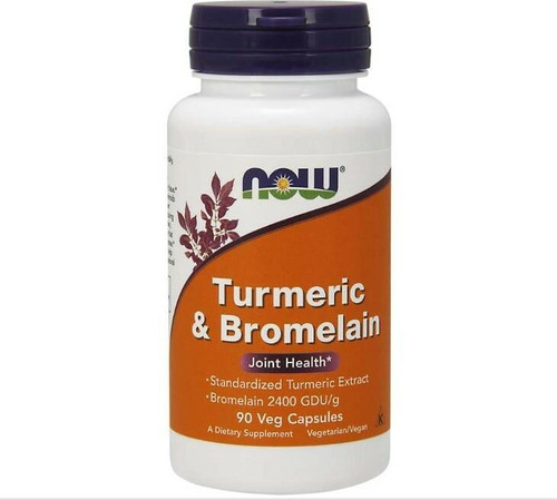 NOW Turmeric and Bromelain 90 Vcaps, NOW