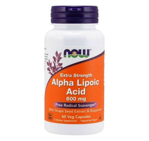 NOW Alpha Lipoic Acid Extra Strength 600mg 60Caps, NOW