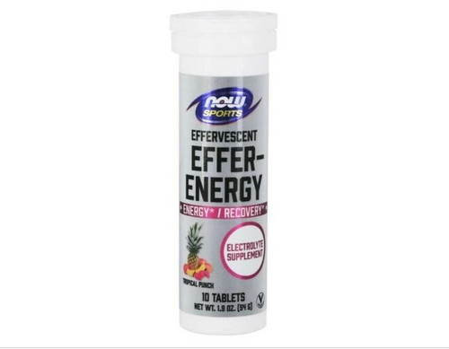 NOW Effer Energy Tablets, Electrolyte 10ct Tropical Punch