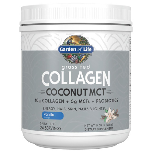 Garden Of Life Grass Fed Collagen Coconut MCT Vanilla 408g Powder