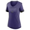 Baltimore Ravens Orchid Women's Mascot Outline Fashion Tri-Blend Top