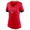 Kansas City Chiefs Red Women's Mascot Outline Fashion Tri-Blend Top