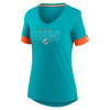 Miami Dolphins Green Women's Mascot Outline Fashion Tri-Blend Top