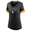 Pittsburgh Steelers Black Women's Mascot Outline Fashion Tri-Blend Top
