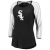 Chicago White Sox Black Women's Iconic Pinstripe 3/4 Sleeve Shirt
