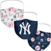 New York Yankees Navy 3 Pack All Over Logo Face Cover